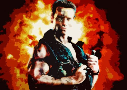 1980's Movie - COMMANDO CUT OUT ARNIE FLAMES canvas print - self adhesive poster - photo print
